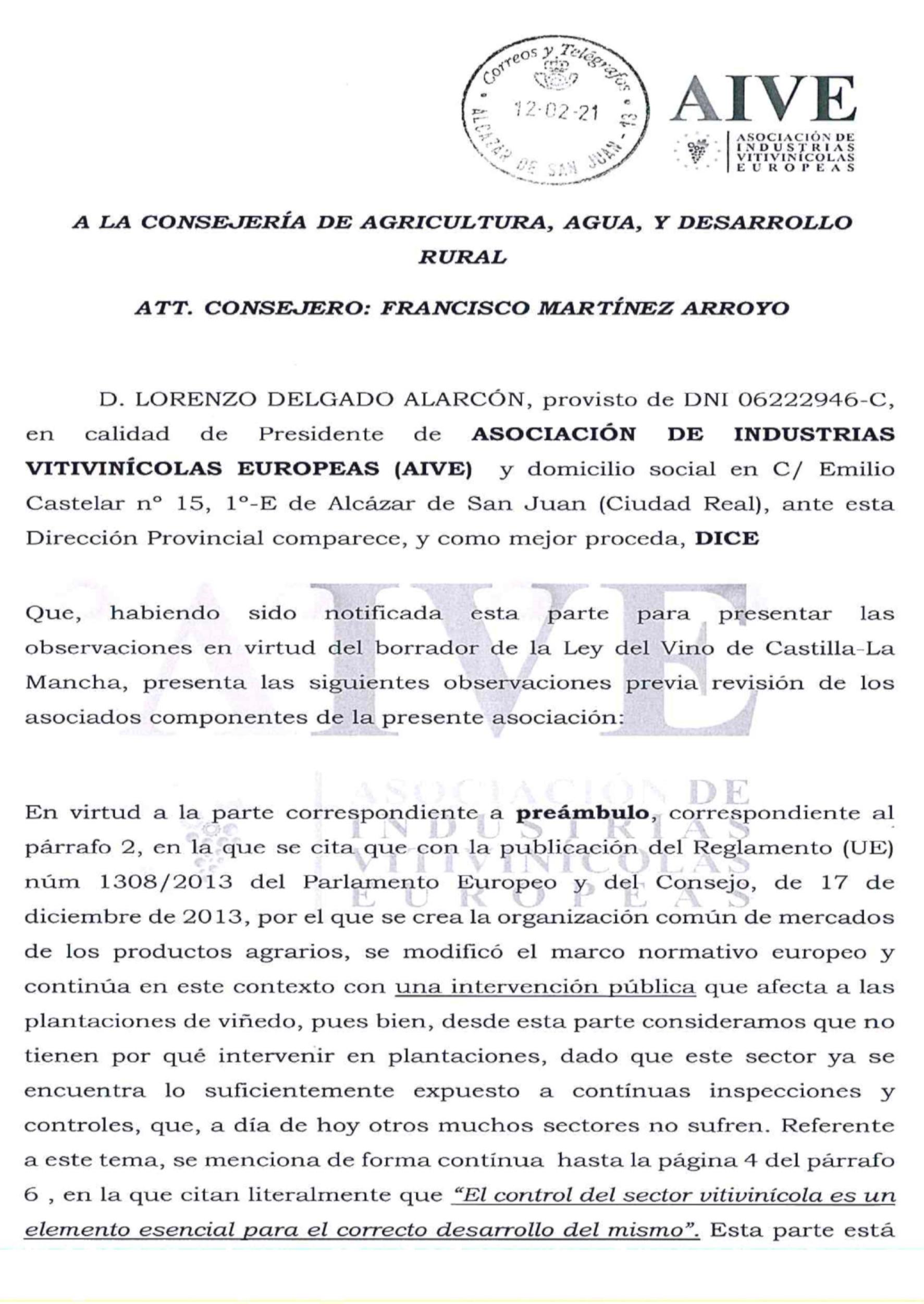 Observaciones prersentadas por AIVE al BORRADOR de la Ley de la Viña y el Vino.