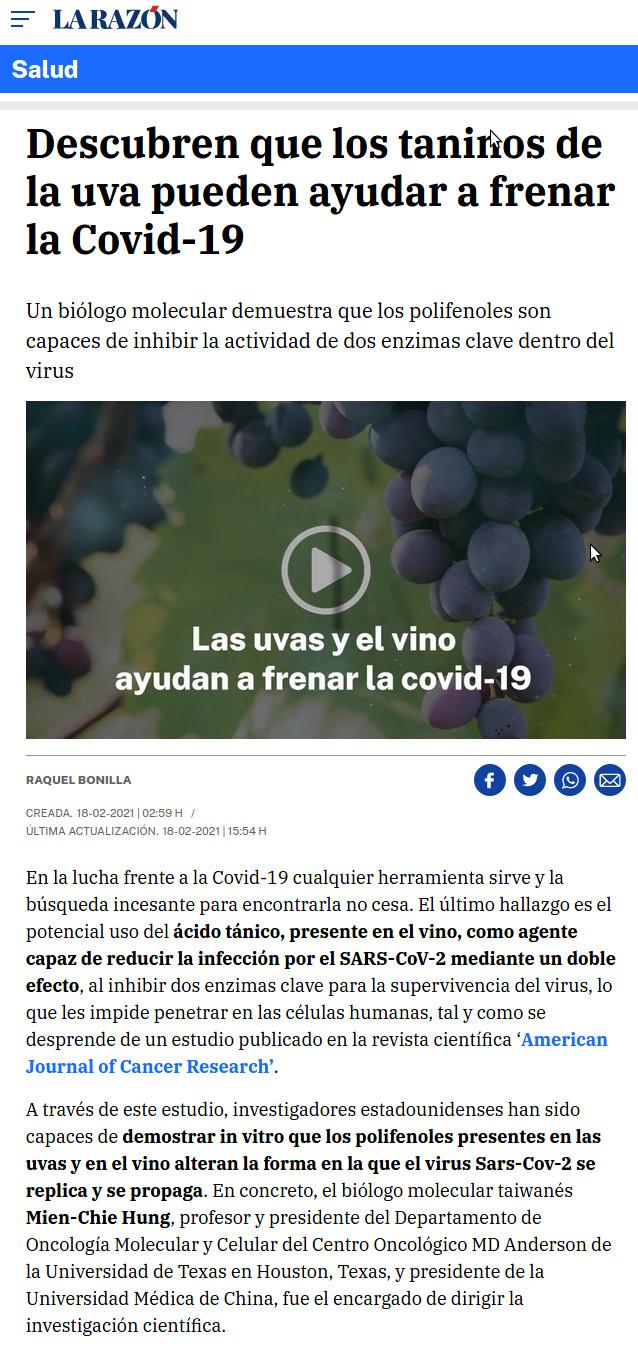 Noticia La Razón propiedades de los taninos frente a la COVID