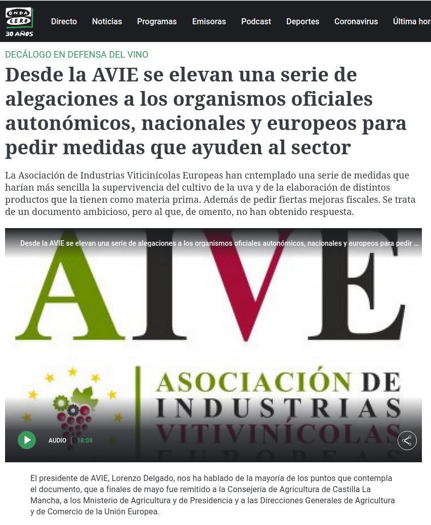 Noticia sobre decalogo de AIVE en Onda Cero.